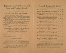 Advert for the Association for the Promotion of Home & Foreign Travel, reverse side